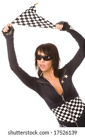 pretty woman dressed as racing fun with checkered flag