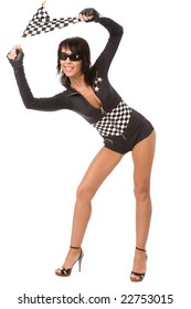 pretty woman dressed as racing fun with chequered flag