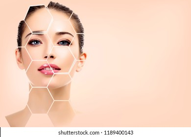 Pretty woman face, skin treatment concept.