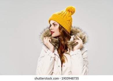 pretty woman fashion winter clothing yellow hat lifestyle