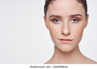 pretty woman with freckles