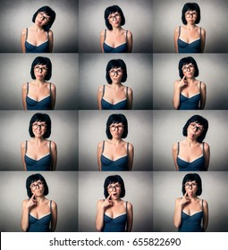 Pretty woman with funny expression.Collage