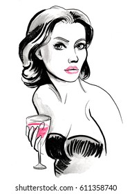 Pretty woman with a glass of red wine