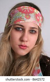 Pretty woman gypsy with blond hair