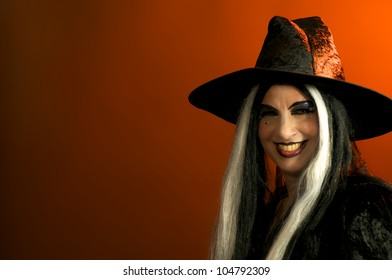 Pretty Woman in Halloween Witch Costume