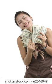 pretty woman holding lots of 100 dollar bills in her hand and almost getting crazy, isolated on white background