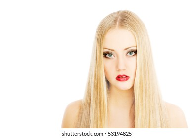 pretty woman, isolated over white background
