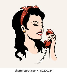 Pretty woman laughing and talking on the phone, pop art illustration.