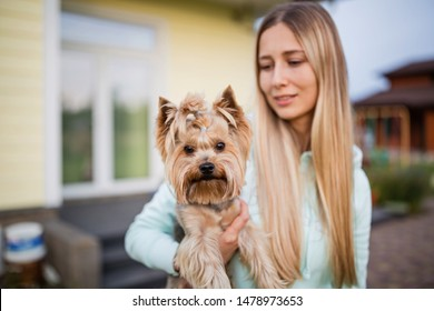 pretty woman with long blonde hair holding small dog yorkshire terrier outdoor