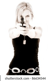 Pretty Woman pointing a gun High Contrast isolated on white