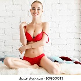 pretty woman posing sensual in bikini
