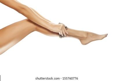 pretty woman puts on her nylon stockings