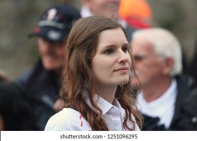 a pretty woman  in  the Racer's parade festival 24hours Le mans -  Le mans city France 2016