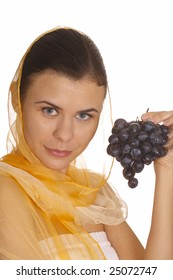 pretty woman with red grape