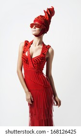 pretty woman in red hat and dress