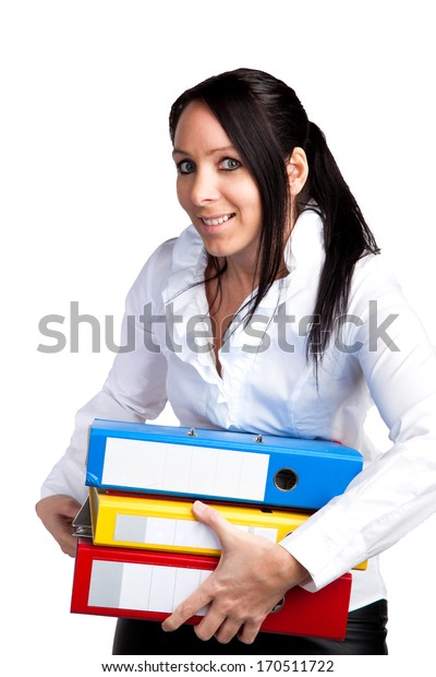 Pretty woman with a stack of file folders