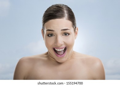 Pretty woman with surprised face