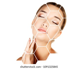 Pretty woman is touching her face, skin treatment concept.