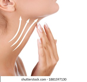 Pretty woman touching her neck, isolated on white background. Anti-aging concept