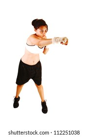 A pretty woman in training for her next boxing much, for white background.