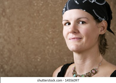 Pretty Woman Wearing a Bandanna on Her Head