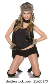 pretty woman wearing black winter outfit on white