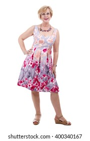 pretty woman wearing flower dress on white isolated background