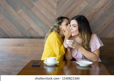 Pretty woman whispering secret to her curious friend. Young woman telling gossip to amazed female friend. Rumor concept