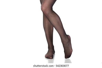 pretty woman's legs in nylon stockings