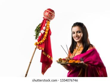 Pretty Women celebrating Gudi Padwa with puja/pooja thali