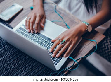 Pretty Young Beauty Woman Using Laptop in cafe, outdoor portrait business woman, hipster style, internet, smartphone, office, Bali Indonesia, holding, mac OS, manager, freelancer