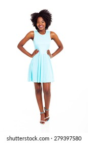 pretty young black woman in blue dress isolated on white
