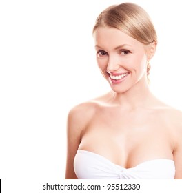 pretty young blond woman with beautiful  breast, copyspace for a text to the left