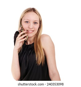 pretty young blonde girl speaking by mobile phone
