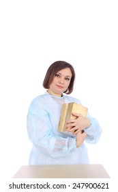 pretty young female doctor with the books
