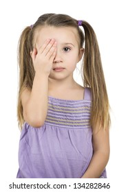 pretty young girl covering one eye with her palm for eye exam isolated on white background - optometry concept
