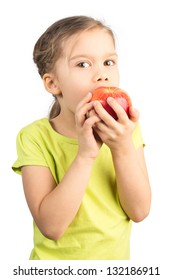 Pretty Young Girl Eating Apple, Isolated on White