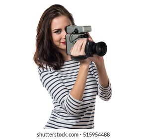 Pretty young girl filming