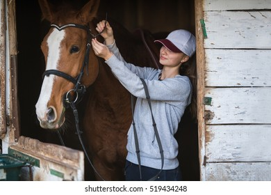 Pretty young girl with horse