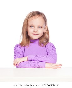 Pretty Young girl on a white background.