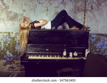 pretty young girl at piano