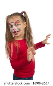 Pretty young girl posing with the cat face makeup