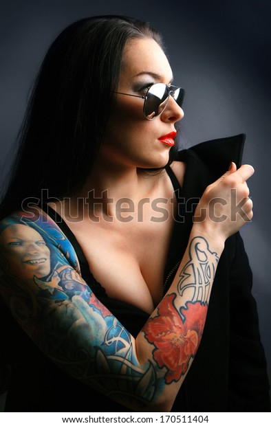 pretty young girl with tattoo. lovely woman.tattoo
