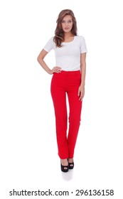 pretty young girl wearing long red trousers