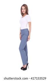 pretty young girl wearing long grey trousers