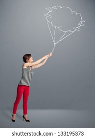 Pretty young lady holding a cloud balloon drawing