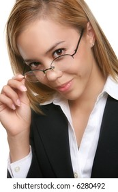 A pretty, young professional business woman adjusting her glasses