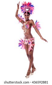 Pretty young samba dancer, full length, isolated on white.