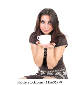 pretty young smiling girl with the tea cup in her hands