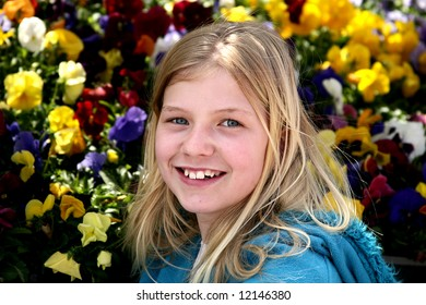 Pretty young teen girl with flower background